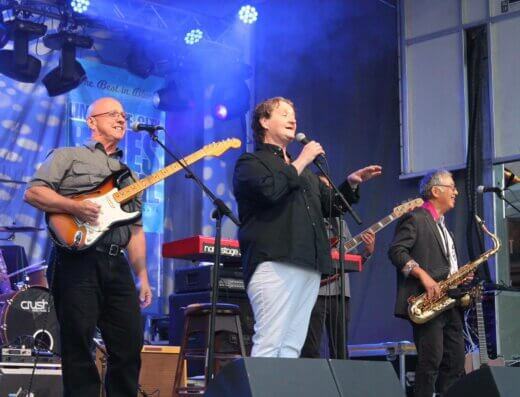 Napanee's Kim Pollard Band on stage during their Limestone City Blues Festival performance in 2019.